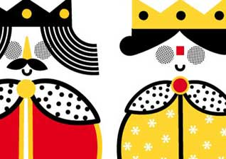 Dibujo pareja de reyes
