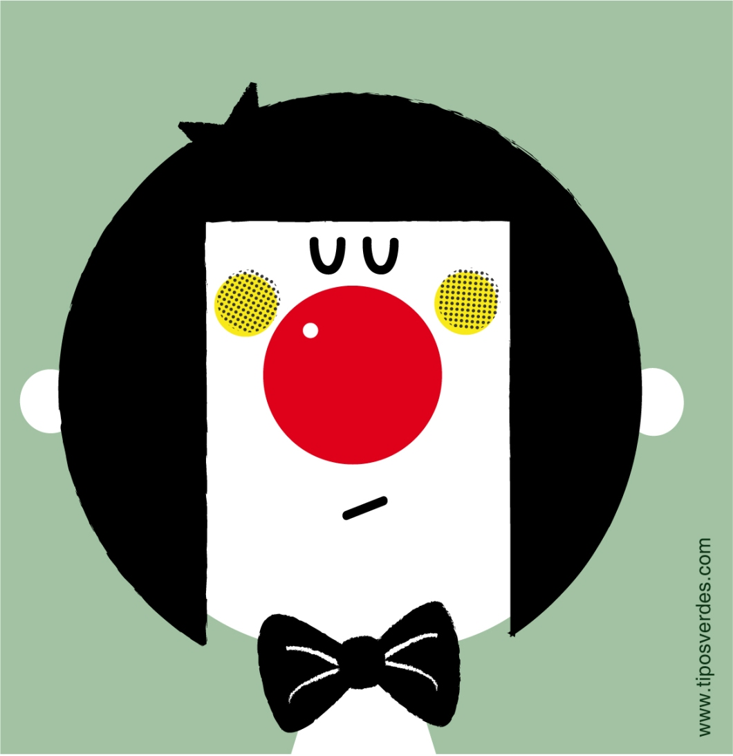 Retrato de Monday Claun por María Reyes Guijarro de Tipos Verdes